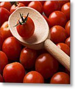 Cherry Tomatoes And Wooden Spoon Metal Print