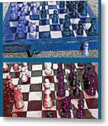 Chess Board - Game In Progress Diptych Metal Print