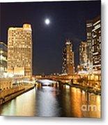 Chicago At Night At Columbus Drive Bridge Metal Print