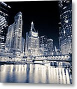 Chicago At Night At Michigan Avenue Bridge Metal Print