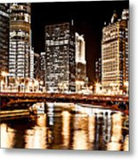 Chicago At Night At State Street Bridge Metal Print