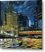 Chicago At Night Metal Print by Peter Jackson