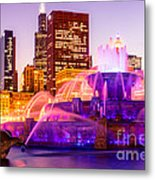 Chicago At Night With Buckingham Fountain Metal Print