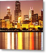 Chicago At Night With Willis-sears Tower Metal Print by Paul Velgos
