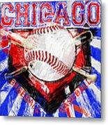 Chicago Baseball Abstract Metal Print by David G Paul