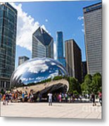 Chicago Bean Cloud Gate With People Metal Print