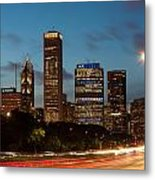 Chicago Business District At Dusk Metal Print