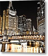 Chicago City At Night Metal Print