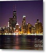 Chicago City At Night Photo Metal Print