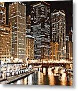 Chicago City Skyline At Night Metal Print