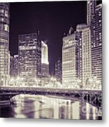 Chicago Cityscape At State Street Bridge Metal Print