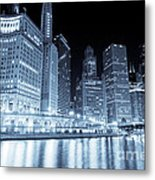 Chicago Downtown Skyline At Night Metal Print