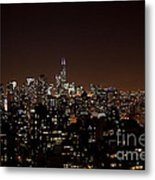 Chicago Glowing At Night Metal Print