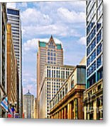 Chicago - Looking South From Lasalle Street Metal Print