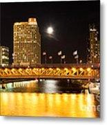 Chicago Michigan Avenue Dusable Bridge At Night Metal Print