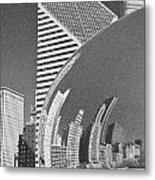 Chicago Reflection Bean Black And White Metal Print
