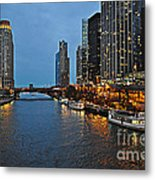 Chicago River At Twilight Metal Print