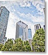 Chicago Skyline At Millenium Park Metal Print by Paul Velgos