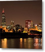 Chicago Skyline Downtown City Buildings At Night Metal Print by Paul Velgos