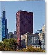 Chicago Skyline From Millenium Park Metal Print