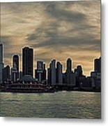 Chicago Skyline Navy Pier Metal Print