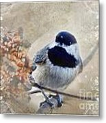 Chickadee Breakfast With Decorations Metal Print