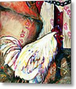 Chicken In The Barn Metal Print