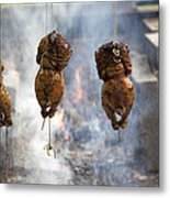 Chickens Roasting On Open Pit Fire Metal Print