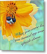 Child Birthday Greeting From Parent Parents - Cosmos And Bumblebee Metal Print