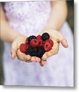 Child Holding Berries Metal Print