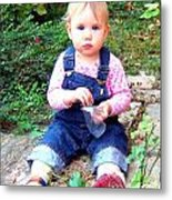 Child In Garden Metal Print
