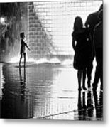 Child  Playing In Water Fountain Metal Print