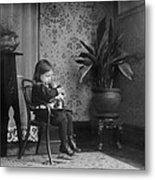 Child Putting A Campbell Kid To Sleep Metal Print by Everett