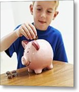 Child With A Piggy Bank Metal Print by Ian Boddy