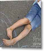 Childhood - Boy Draws With Chalk Metal Print