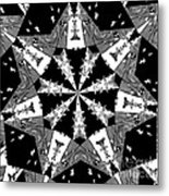 Children Animals Kaleidoscope Black And White Metal Print