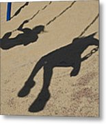 Children Cast Body Shadows In The Sand Metal Print