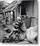 Children In Agra In India Metal Print