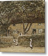 Children Outside A Cottage Metal Print