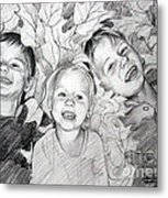 Children Playing In The Fallen Leaves Metal Print