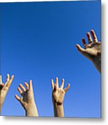 Childrens Hands Reach Toward The Blue Metal Print