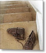 Child's Shoes By Stairs Metal Print