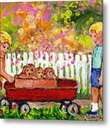 Chilrens Art-boy And Girl With Wagon And Puppies Metal Print