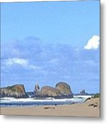 Chimneys Of Cannon Beach Metal Print