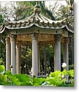 Chinese Pavilion In A Lotus Flower Garden Metal Print