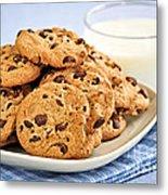 Chocolate Chip Cookies And Milk Metal Print by Elena Elisseeva