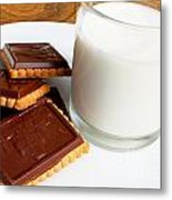 Chocolate Coated Butter Cookies And Milk Metal Print