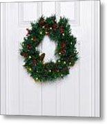 Chrismas Wreath On A White Door Metal Print