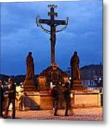 Christ Crucifixion Sculpture Metal Print