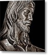 Christ In Bronze - Bw Metal Print